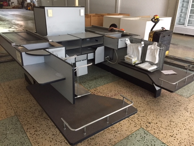 Double Check Out Counter with Conveyors