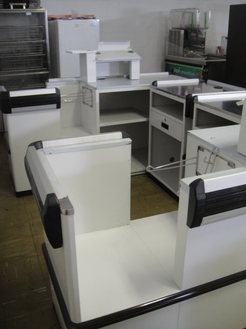 White Check Out Counters with trim