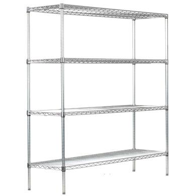 1800mm High Four Shelf Chrome Wire Display Rack