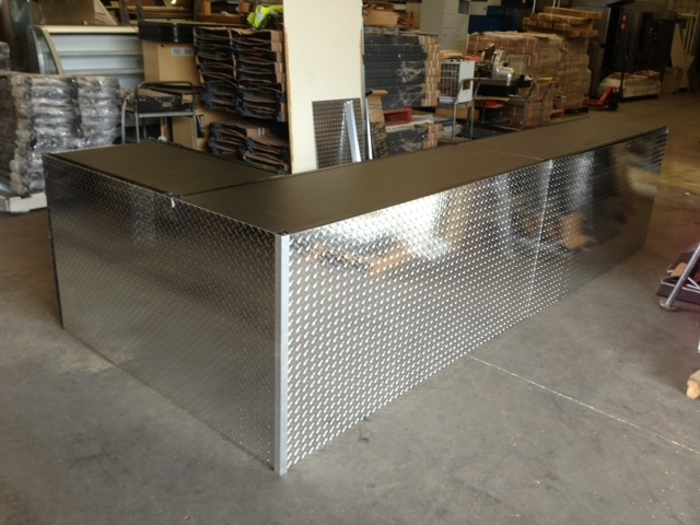 Fabricated Counters with Checker Plate & vinyl counter tops